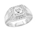 Men's Art Deco Diamond Ring in 14 Karat White Gold