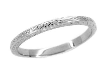 Art Deco Thin Wheat Engraved Wedding Band for Men in 14 Karat White Gold