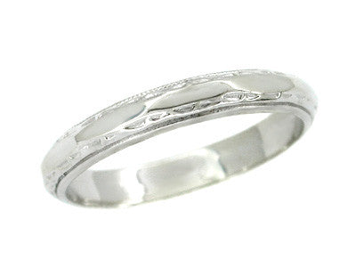 Men's Millgrain Geometric Wedding Band in 14 Karat White Gold