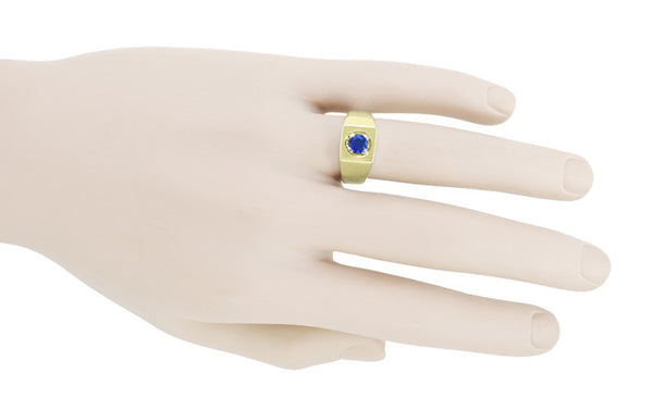 Men's Royal Blue Sapphire Ring in 14 Karat Yellow Gold - Item: MR102 - Image: 2