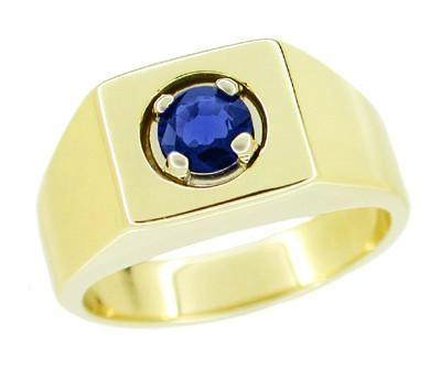 Men's Royal Blue Sapphire Ring in 14 Karat Yellow Gold