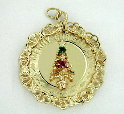Merry Christmas Tree Pendant in 14 Karat Gold