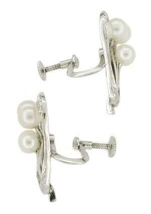 Vintage Mikimoto Pearl Earrings in Sterling Silver - Item: E132 - Image: 1