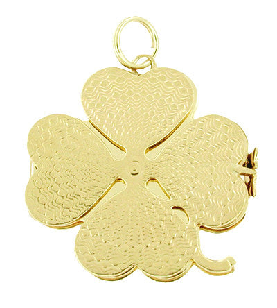 Movable Opening 4 Leaf Clover Pendant Charm in 14 Karat Gold