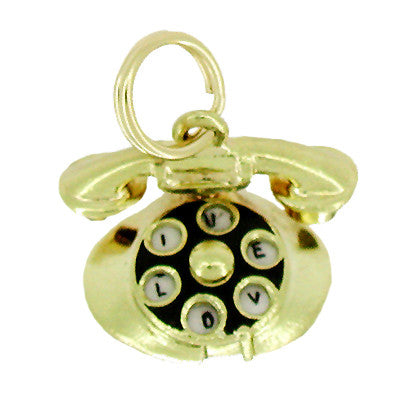 Movable Dial Telephone Charm in 14 Karat Gold - Item: C214 - Image: 1