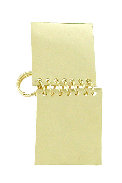 Movable Memo Pad Notebook Charm in 14 Karat Yellow Gold - Item: C235 - Image: 1