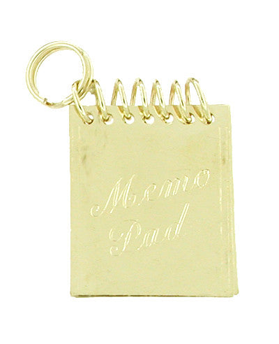 Movable Memo Pad Notebook Charm in 14 Karat Yellow Gold