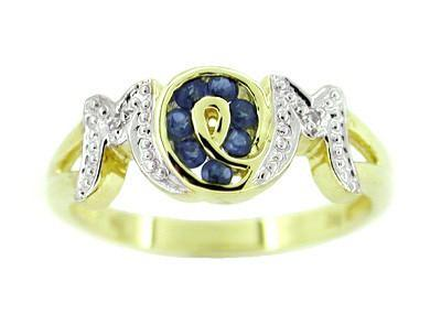 Mom Mother's Ring with Sapphires and Diamonds in 10 Karat Gold
