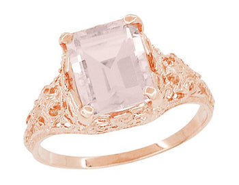 Emerald Cut Morganite Edwardian Filigree Engagement Ring in 14 Karat Rose ( Pink ) Gold