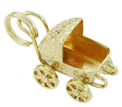 Movable Baby Carriage Charm in 14 Karat Gold