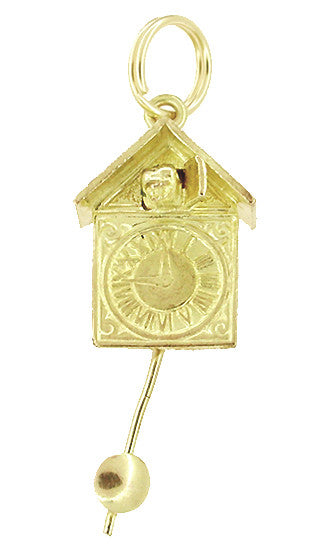 Movable Cuckoo Clock Charm in 10 Karat Gold