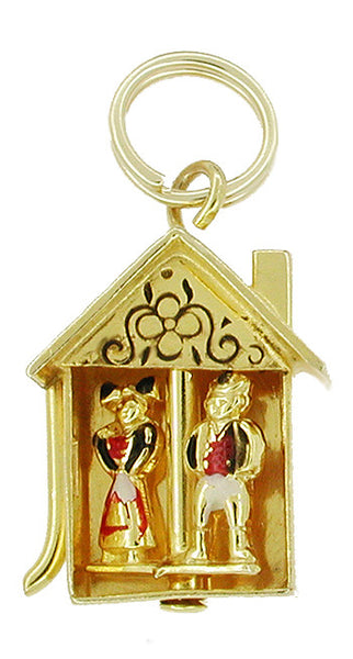 Movable Dutch Home and Hearth Enameled Charm in 10 Karat Gold