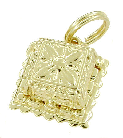1950's Vintage Movable Diamond Engagement Ring and Ring Box Charm in 14 Karat Gold - Item: C183 - Image: 1