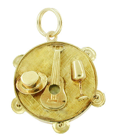 Movable Music Tambourine Charm in 14 Karat Gold