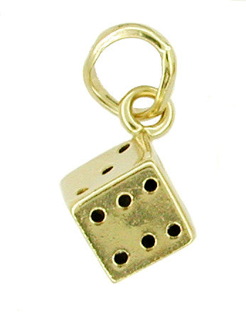 Small Good Luck Dice Charm in 14K Yellow Gold