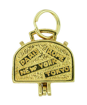 Movable World Traveler Opening Suitcase Charm in 14 Karat Gold