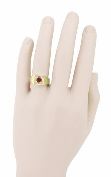 1 Carat Mens Ruby Ring in 14 Karat Yellow Gold - Item: MR102R - Image: 2