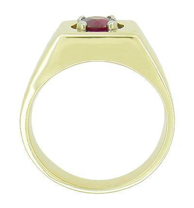 1 Carat Mens Ruby Ring in 14 Karat Yellow Gold - Item: MR102R - Image: 1