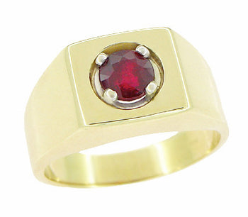 1 Carat Mens Ruby Ring in 14 Karat Yellow Gold
