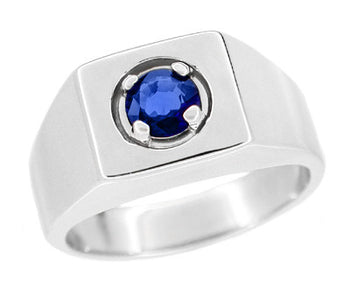 1 Carat Men's Royal Blue Natural Sapphire Ring in 14 Karat White Gold