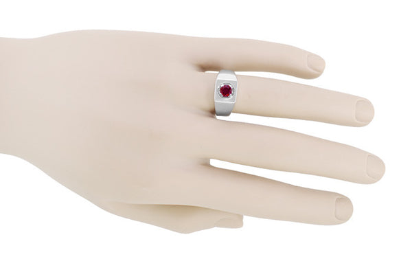 Mid Century Vintage Design 1 Carat Ruby Ring for a Man in 14 Karat White Gold - Item: MR102WR - Image: 2
