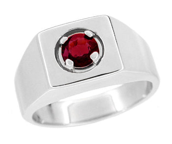 Mid Century Vintage Design 1 Carat Ruby Ring for a Man in 14 Karat White Gold