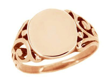 Antique Style Men's Victorian Filigree Signet Ring in 14 Karat Rose ( Pink ) Gold