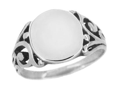 Men's Baroque Filigree Victorian Oval Signet Ring in 14 Karat White Gold