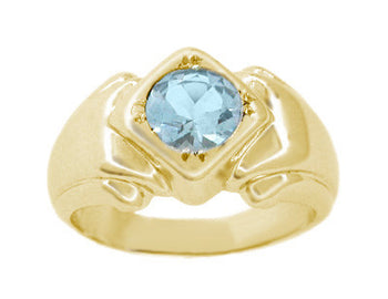 Mens Art Deco Aquamarine Ring in 14 Karat Yellow Gold