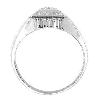 Mens Art Deco Blue Diamond Ring in 14 Karat White Gold - Item: MR118BD - Image: 1