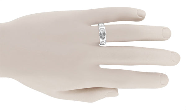 Vintage 1950's Men's Starburst Diamond Wedding Band in 14K White Gold | Art Carved - Item: MR122 - Image: 2