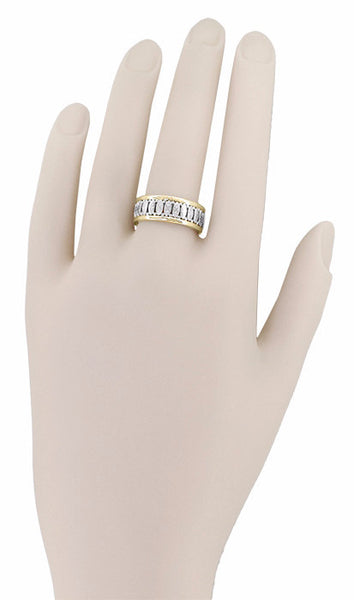 Art Deco Vintage Filigree Wedding Band in Two-Tone 14K White & Yellow Gold | Size 9 - Item: MR124 - Image: 1