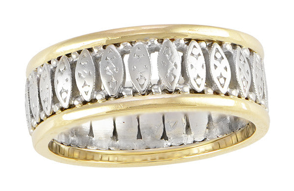 Art Deco Vintage Filigree Wedding Band In Two Tone 14K White Yellow Gold