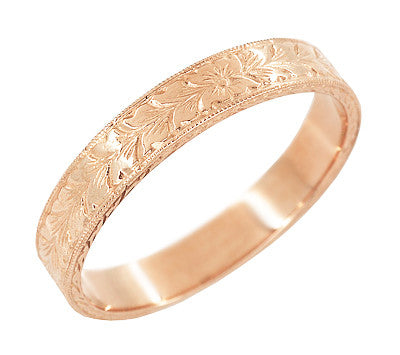Mens Antique Style Art Deco Engraved Wheat Wedding Ring in 14 Karat Rose Gold - 4mm - Item: MR858RND - Image: 1