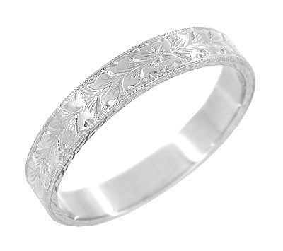 Mens Art Deco Vintage Engraved Wheat Wedding Ring Design in 14 Karat White Gold - Item: MR858WND - Image: 1
