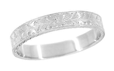 Mens Art Deco Vintage Design Engraved Wheat Wedding Ring in 14 Karat White Gold