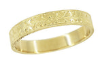 Mens Antique Style Art Deco Wheat Engraved Wedding Ring in 14 Karat Yellow Gold