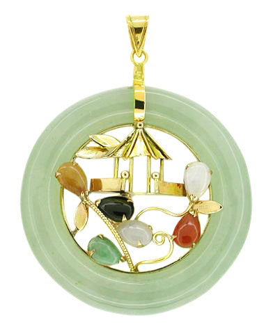 Multicolor Jade Pendant in 14 Karat Gold