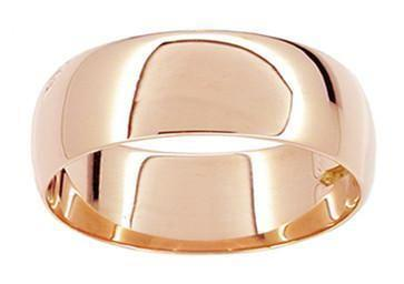 "Size 12 - Men's 8mm Wide Heavy ""Comfort Fit"" Wedding Band Ring in 14 Karat Rose Gold"