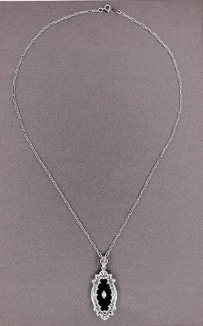 Art Deco Onyx and Diamond Filigree Pendant Necklace in Sterling Silver - Item: N105oN - Image: 1