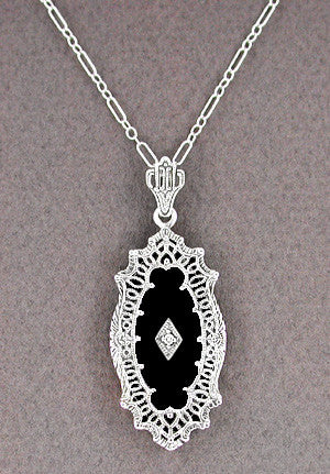 Art Deco Onyx and Diamond Filigree Pendant Necklace in Sterling Silver