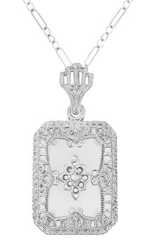 Art Deco Filigree Camphor Crystal and Diamond Rectangular Pendant Necklace in 14 Karat White Gold