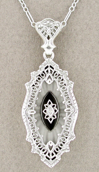 Art Deco Onyx and Crystal Diamond Set Filigree Pendant Necklace in 14 Karat White Gold