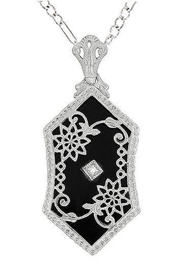 Art Deco Filigree Onyx and Diamond Set Pendant Necklace in 14 Karat  White Gold