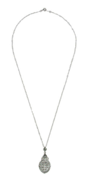 Art Deco Diamond Filigree Pendant Necklace in Sterling Silver - Item: N123 - Image: 1