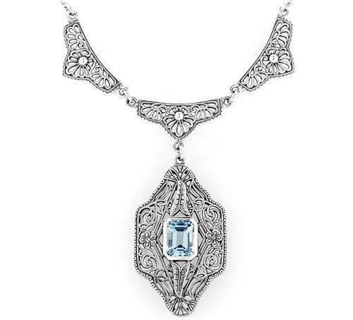 Art Deco Filigree Antique Style Blue Topaz Dangle Drop