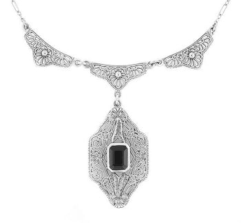 Art Deco Filigree Black Onyx Drop Pendant Necklace in Sterling Silver