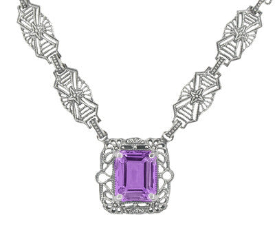 Art Deco Filigree Amethyst Drop Pendant Necklace in Sterling Silver