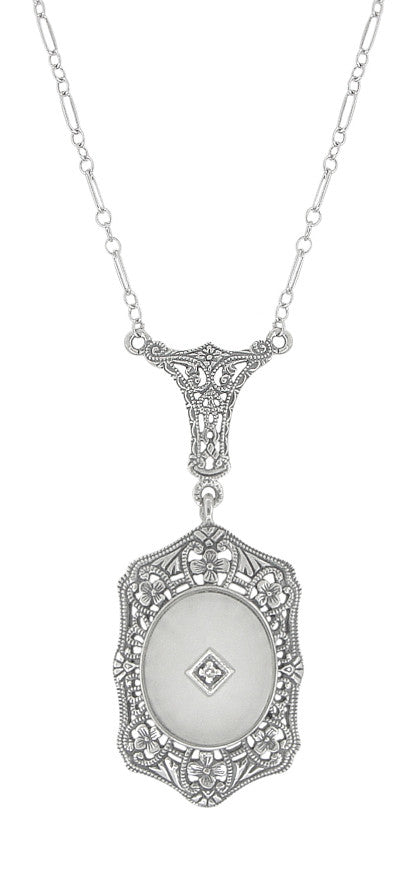 Fine Antique Nouveau Art-deco Platinum White Gold Diamond Pearl Drop Pendant Necklace