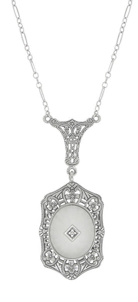 Filigree Art Deco Starburst Camphor Crystal & Diamond Drop Pendant Necklace in Sterling Silver